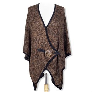 Soft Surroundings | Mei Ling Sweater Cape Brown OS